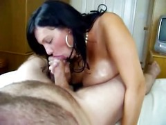 Busty wife gets her tits fucked and blows cock
