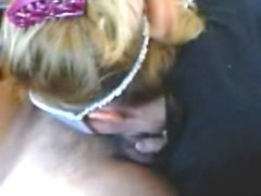 Blond wife in mask blowing her husbands cock in this homevideo