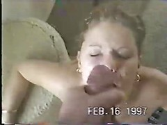 Curly haired blonde takes huge sperm shot on her face and lips after excellent head job