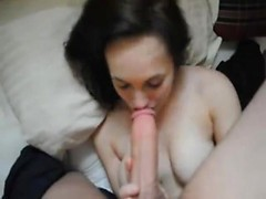 I take a homemade video of my girlfriend try to suck my extra long dick