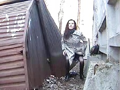 Amateur russian wife pissing on the street