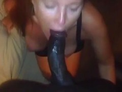White girl wears her wedding ring while blowing her hung black boyfriend