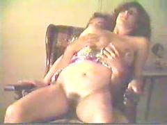 Nasty amateur housewife blowing and riding cock in arm chair