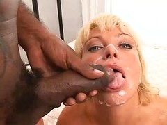 Real wife sex video with dirty cougar taking black facial cumshot
